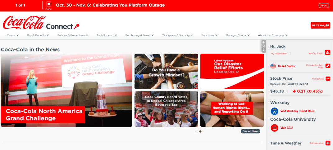 coca-cola intranet home 2017